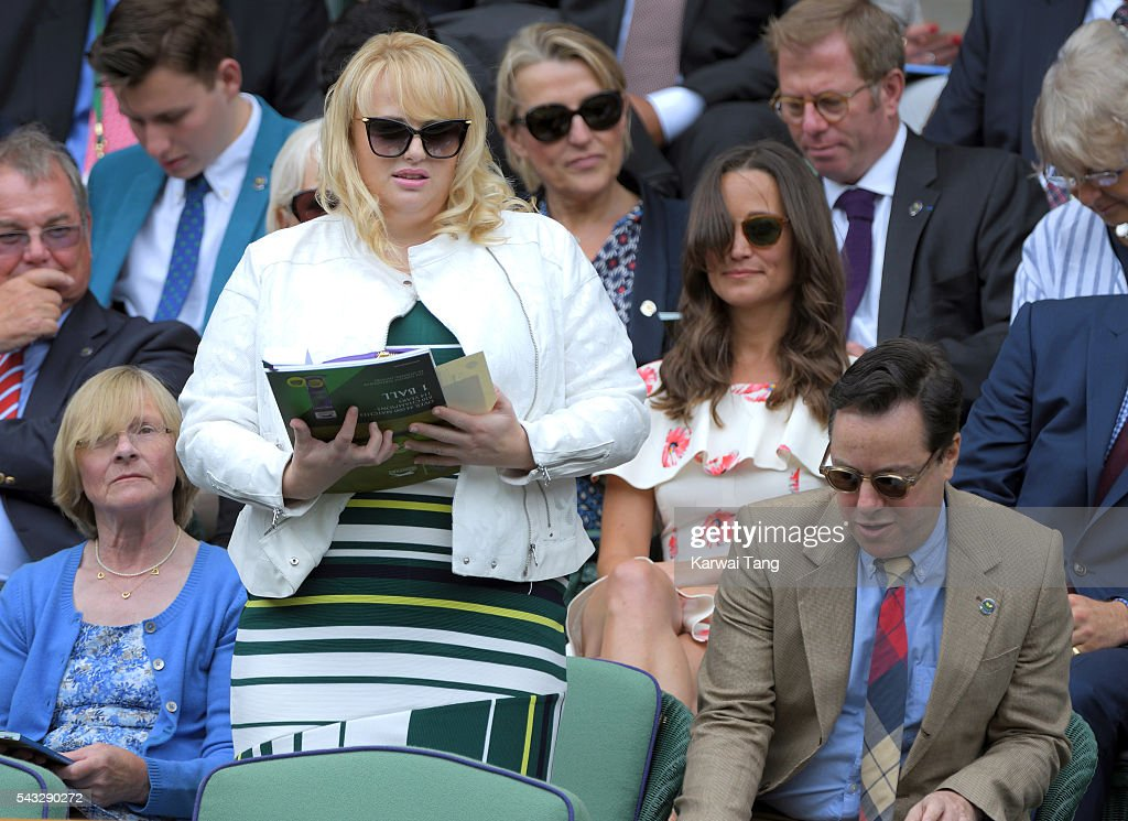 <a gi-track='captionPersonalityLinkClicked' href=/galleries/search?phrase=Rebel+Wilson&family=editorial&specificpeople=5563104 ng-click='$event.stopPropagation()'>Rebel Wilson</a> and <a gi-track='captionPersonalityLinkClicked' href=/galleries/search?phrase=Pippa+Middleton&family=editorial&specificpeople=4289296 ng-click='$event.stopPropagation()'>Pippa Middleton</a> attend day one of the Wimbledon Tennis Championships at Wimbledon on June 27, 2016 in London, England.