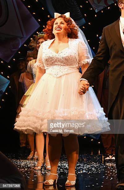 Rebel Wilson bows at the curtain call during her press night performance as Miss Adelaide in the acclaimed West End production of 'Guys and Dolls' at...