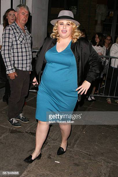 Rebel Wilson leaving the Phoenix Theatre after her performance in Guys and Dolls on August 9 2016 in London England