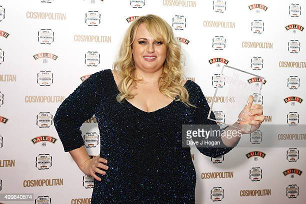 Rebel Wilson poses for a photo with the award for Ultimate Women during the Cosmopolitan Ultimate Women Of The Year Awards at One Mayfair on December...