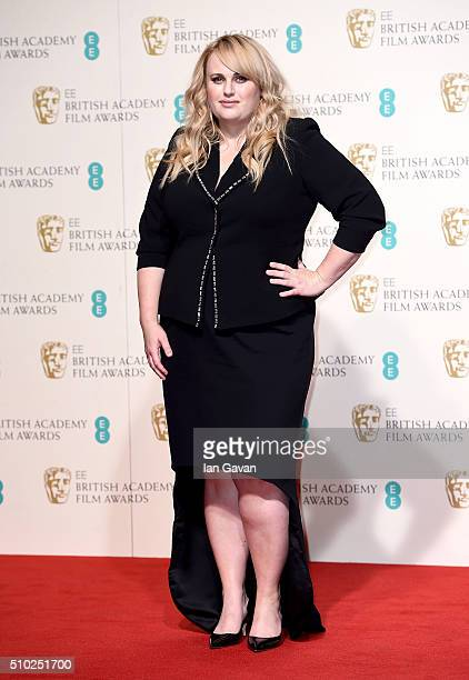 Rebel Wilson poses in the winners room at the EE British Academy Film Awards at the Royal Opera House on February 14 2016 in London England
