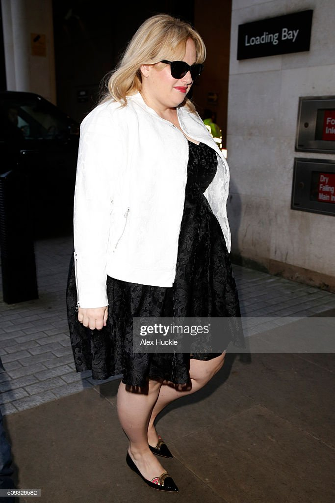 <a gi-track='captionPersonalityLinkClicked' href=/galleries/search?phrase=Rebel+Wilson&family=editorial&specificpeople=5563104 ng-click='$event.stopPropagation()'>Rebel Wilson</a> seen arriving at the BBC Radio 1 Studios on February 10, 2016 in London, England.