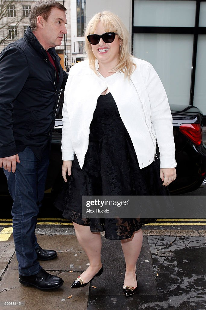 Rebel Wilson seen arriving at the KISS FM Radio Studios on February 10, 2016 in London, England.