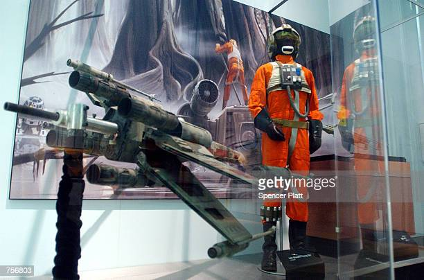 Rebel XWing Starfighter uniform is displayed April 4 2002 at the exhibit 'Star Wars The Magic of the Myth' at the Brooklyn Museum of Art in Brooklyn...