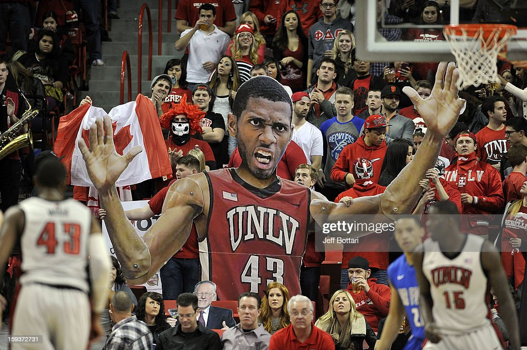 Rebels fans hold up a cutout image of Mike Moser of the UNLV Rebels during the game against the Air Force Falcons at the Thomas & Mack Center on January 12, 2013 in Las Vegas, Nevada.