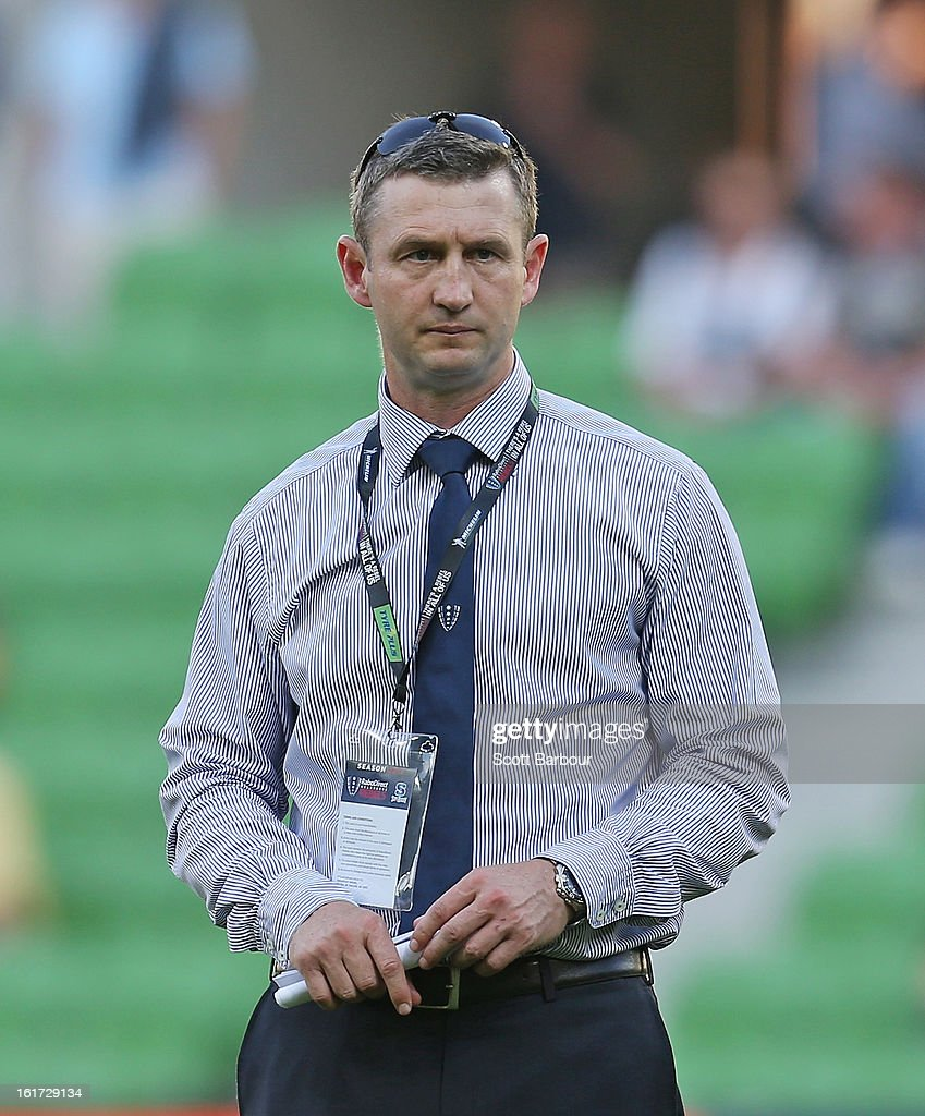 Rebels head coach, Damien Hill looks on before the round one Super Rugby match between the Rebels and the Force at AAMI Park on February 15, 2013 in Melbourne, Australia.