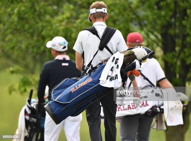 Rebels John Oda Oklahoma Sooners Brad Dalke and Illinois Fighting Illinis Dylan Meyer walking from the second tee during round 3 of the Division I...