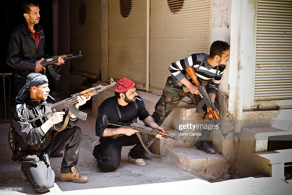 Rebels of the Free Syrian Army prepare to engage government tanks that have advanced into Saraquib city on April 9 2012 in Syria Conitnuing violence...