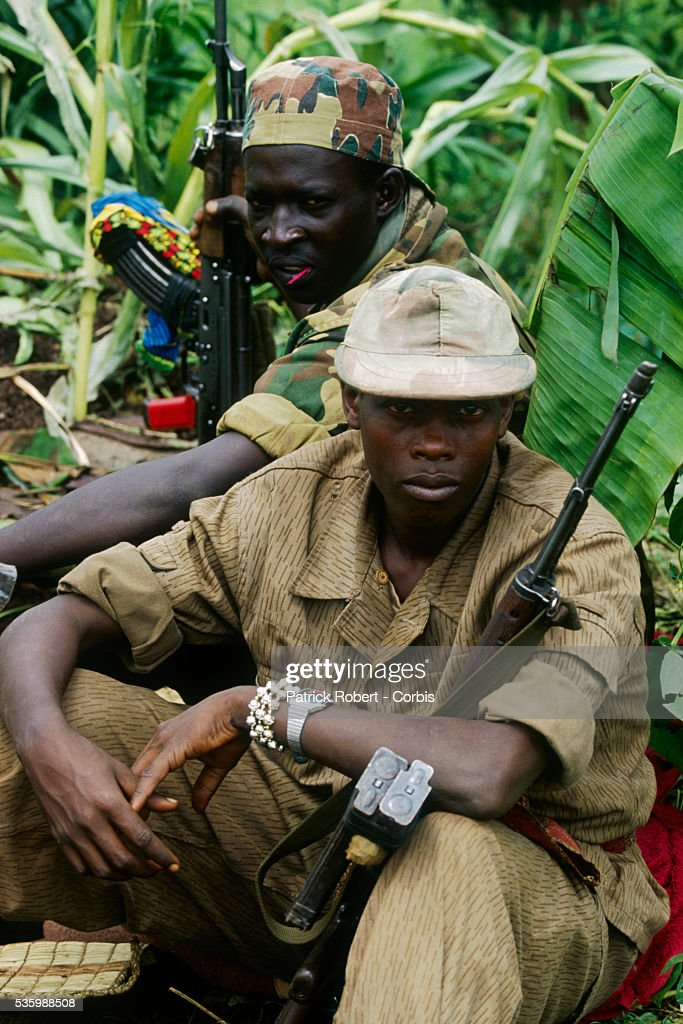RPF (Rwandan Patriotic Front) rebels on the Kigali front line during the civil war in Rwanda.