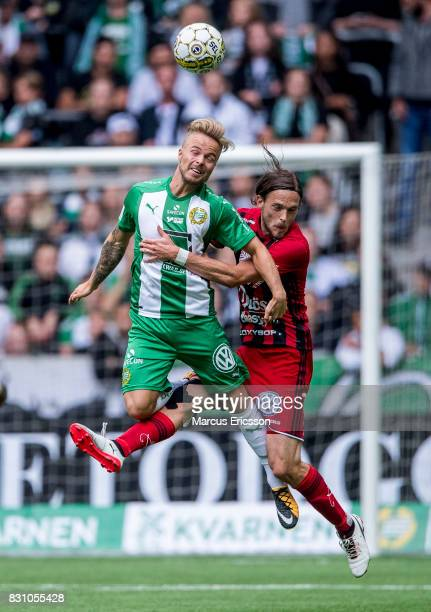 Rebin Asaad of Hammarby IF and Tom Pettersson of Ostersunds FK during the Allsvenskan match between Hammarby IF and Ostersunds FK at Tele2 Arena on...