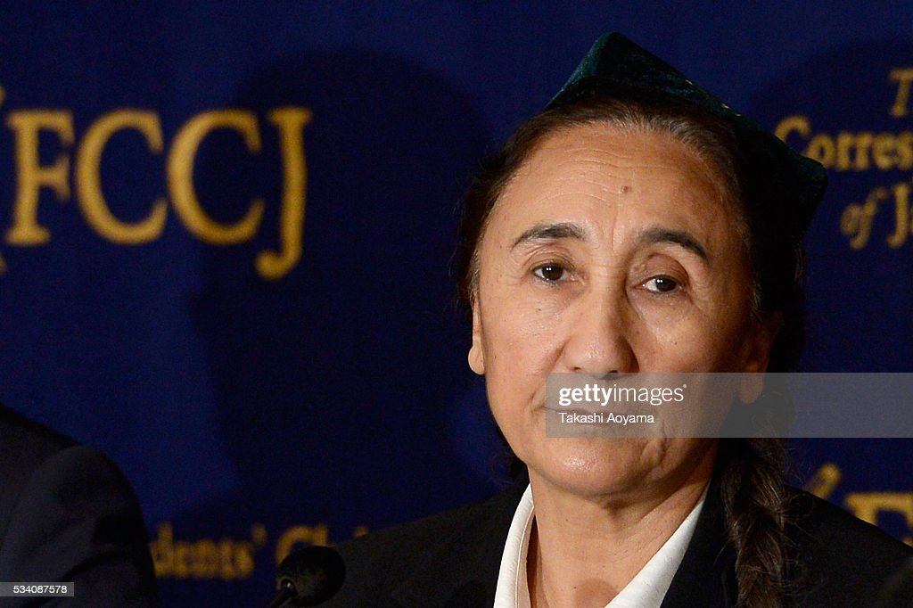 Rebiya Kadeer, president of the World Uyghur Congress (WUC) attends the press conference at the Foreign Correspondents' Club of Japan on May 25, 2016 in Tokyo, Japan. Kadder, known for her Muslim Uighur human rights activities, has been battling with the Chinese government.