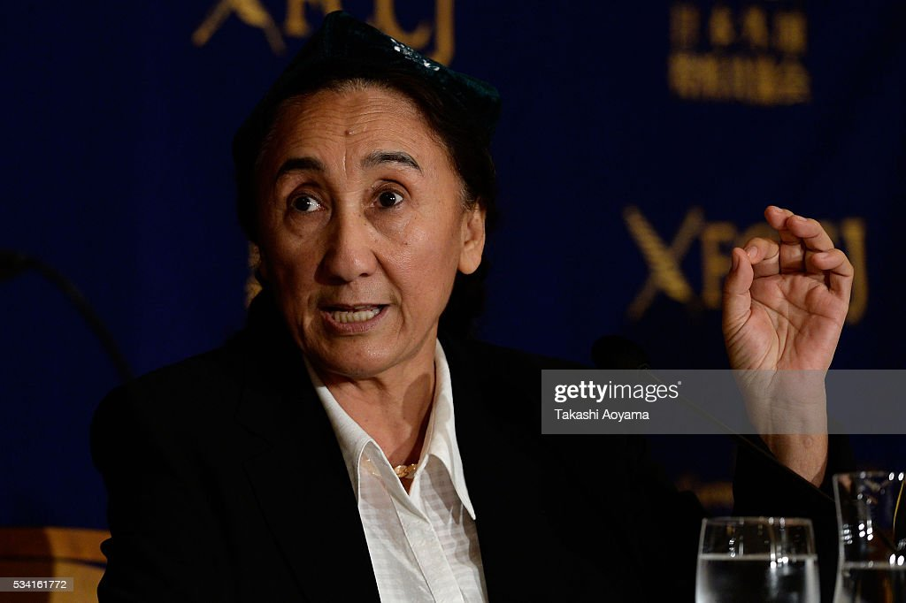 Rebiya Kadeer, president of the World Uyghur Congress (WUC) speaks during the press conference at the Foreign Correspondents' Club of Japan on May 25, 2016 in Tokyo, Japan. Kadder, known for her Muslim Uighur human rights activities, has been battling with the Chinese government.