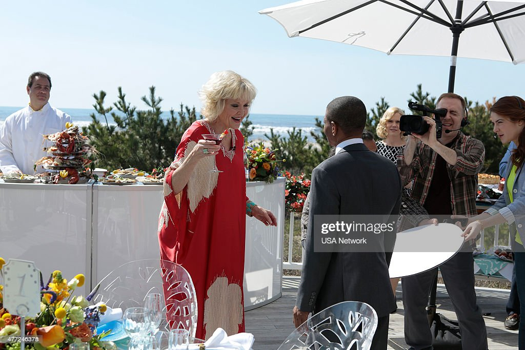 PAINS -- 'Rebound' Episode 701 -- Pictured: (l-r) Christine Ebersole as Mrs. Newberg, Muggsy Bogues as Himself, Kelly Miller as Cameraman --
