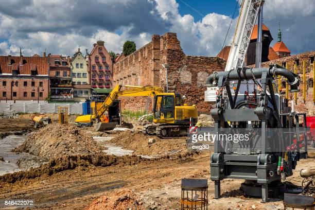 Wederopbouw van de herenhuizen in de oude binnenstad Gdansk, Polen