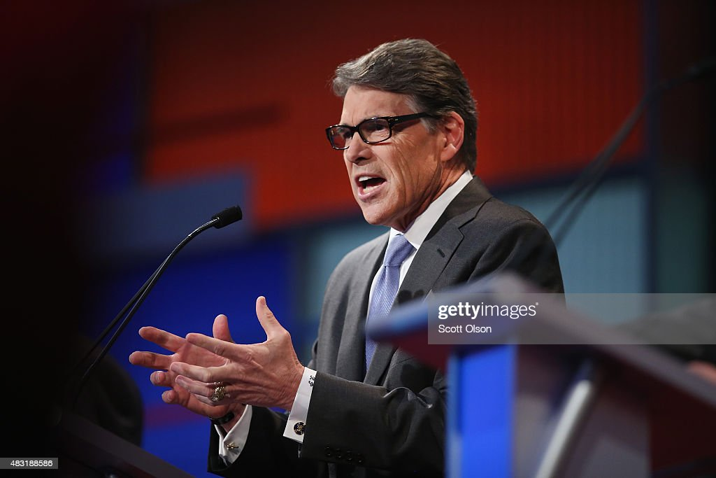 Rebulican presidential candidate <a gi-track='captionPersonalityLinkClicked' href=/galleries/search?phrase=Rick+Perry+-+Politician&family=editorial&specificpeople=175872 ng-click='$event.stopPropagation()'>Rick Perry</a> fields a question during a presidential forum hosted by FOX News and Facebook at the Quicken Loans Arena August 6, 2015 in Cleveland, OH. Seven GOP candidates were selected to participate in the forum based on their rank in an average of the five most recent national political polls. The top ten polling Republican candidates will participate in a debate following the forum.