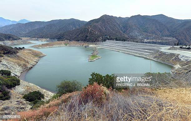 Receding water levelscan be seen around the San Gabriel Reservoir or San Gabriel Dam which provides flood control groundwater recharge flows and...