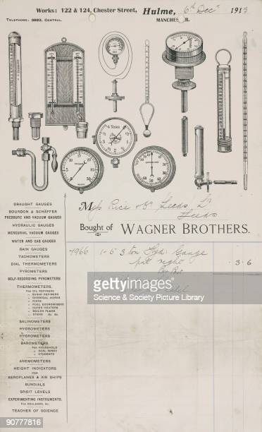 Receipt for the repair of an hydraulic gauge by Wagner Brothers 122 and 124 Chester Street Hulme Manchester The letterhead includes a list of...