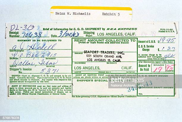COD receipt verifying delivery of revolver that Lee Harvey Oswald allegedly used to kill Officer JD Tippet and which he had on him at the time of his...