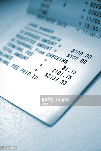 ATM Receipt With Transaction Fee - Close Up