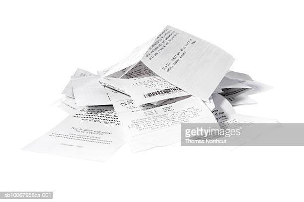 Receipts on white background