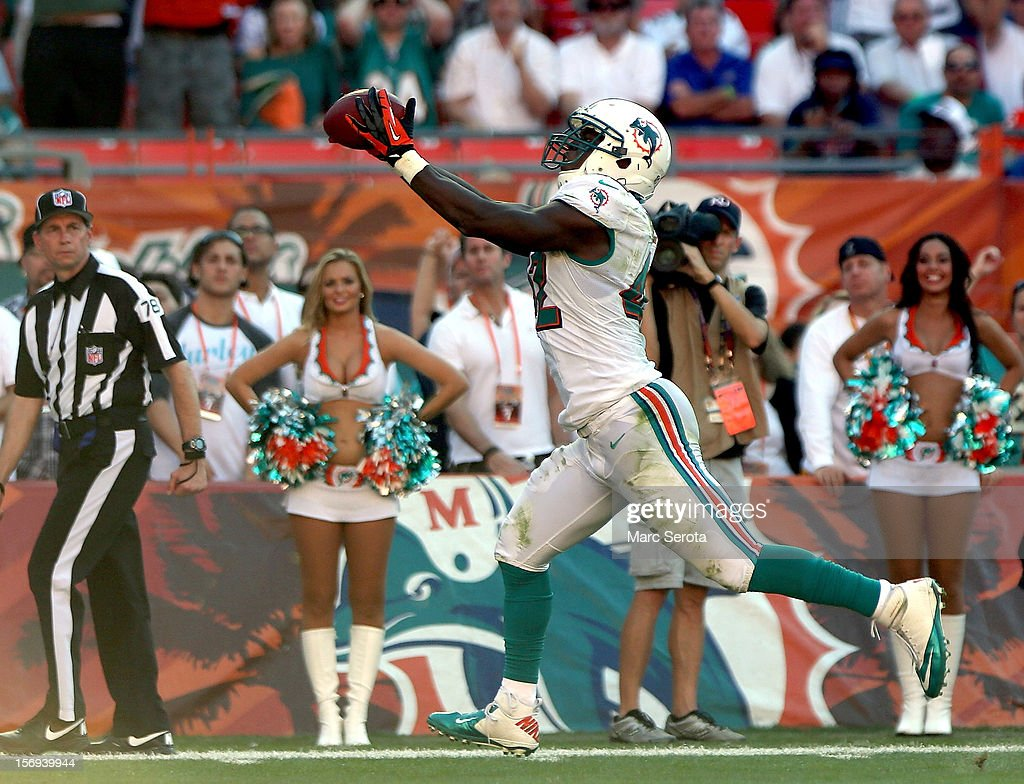 Receiver Charles Clay #42 of the Miami Dolphins catches a touchdown pass against the Seattle Seahawks at Sun Life Stadium on November 25, 2012 in Miami Gardens, Florida. Miami defeated Seattle 24-21.