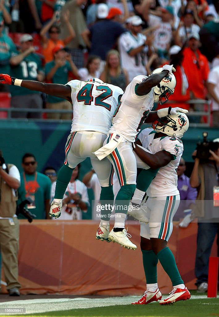 Receiver Charles Clay #42 of the Miami Dolphins celebrates a touchdown pass against the Seattle Seahawks at Sun Life Stadium on November 25, 2012 in Miami Gardens, Florida. Miami defeated Seattle 24-21.