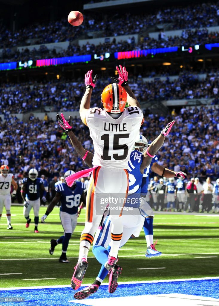 Receiver Greg Little of the Cleveland Browns catches a pass in the endzone for a touchdown during a game with the Indianapolis Colts at Lucas Oil...
