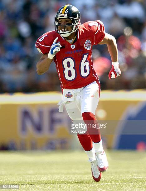 AFC receiver Hines Ward of the Pittsburgh Steelers during 3827 victory over the NFC in the NFL Pro Bowl at Aloha Stadium in Honolulu HI on Sunday Feb...