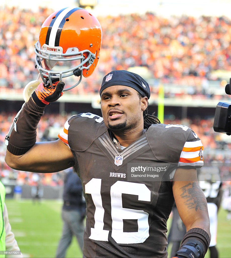 Receiver Joshua Cribbs of the Cleveland Browns celebrates after a game against the Pittsburgh Steelers at Cleveland Browns Stadium in Cleveland Ohio...