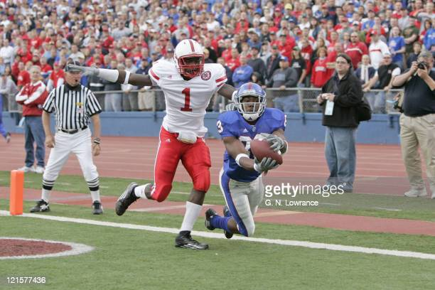 Receiver Mark Simmons of the Kansas Jayhawks makes a reception for a touchdown during a game against the Nebraska Cornhuskers at Memorial Stadium in...