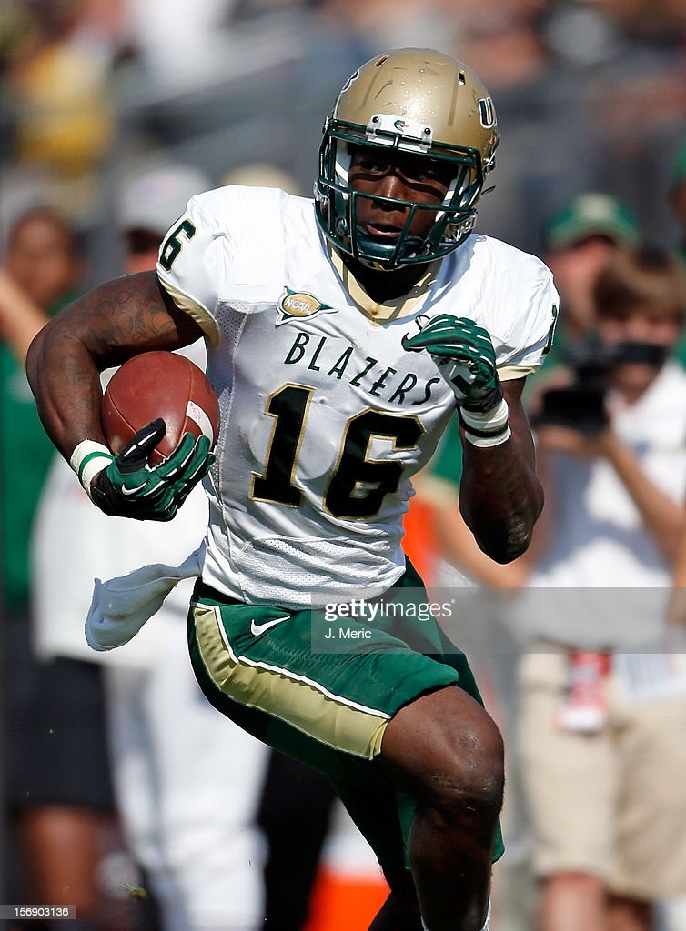 Receiver Patrick Hearn #16 of the Alabama Birmingham Blazers runs after a catch against the Central Florida Knights during the game at Bright House Networks Stadium on November 24, 2012 in Orlando, Florida.