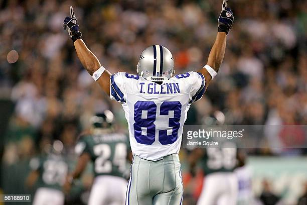 Receiver Terry Glenn of the Dallas Cowboys celebrates a touchdown against the Philadelphia Eagles on November 14 2005 at Lincoln Financial Field in...