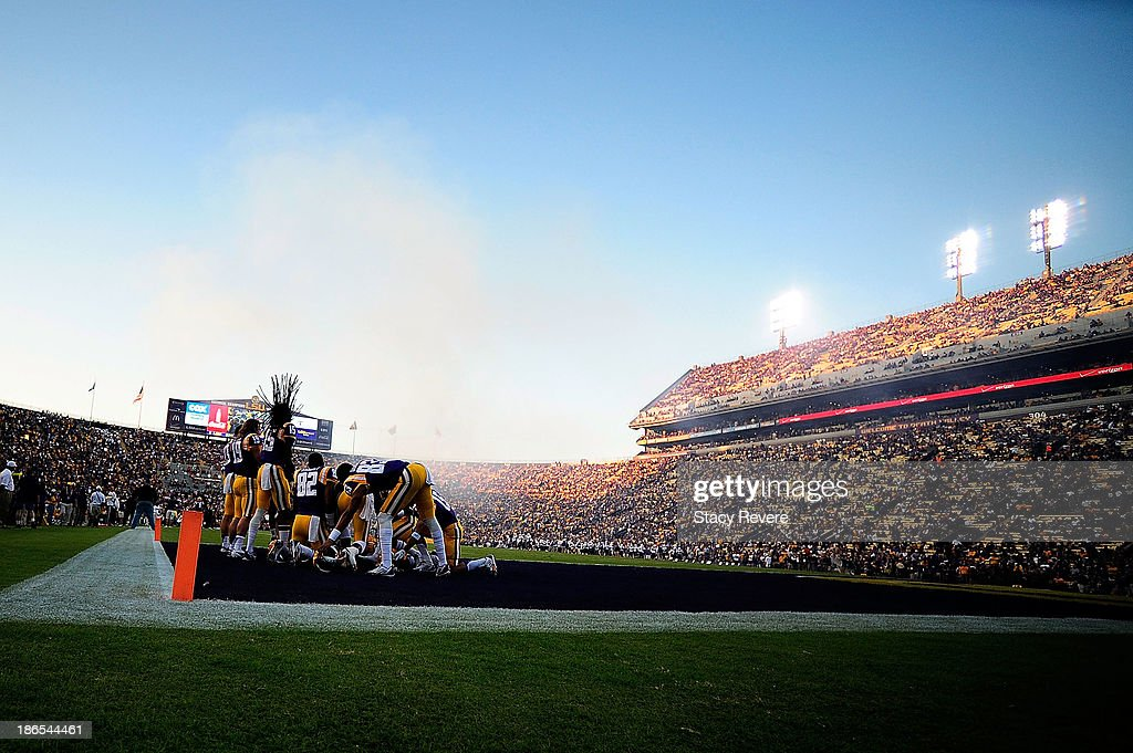 Receivers for the LSU Tigers gather in the endzone prior to a game against the Furman Paladins at Tiger Stadium on October 26 2013 in Baton Rouge...