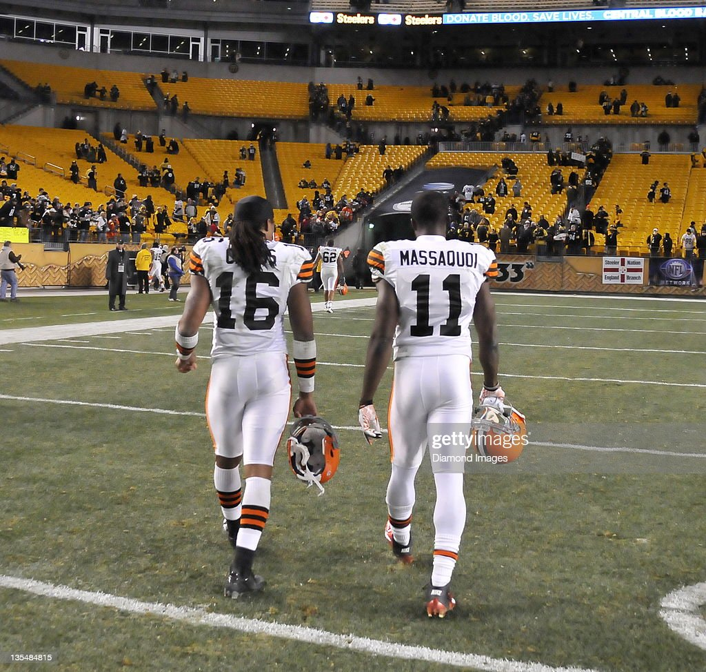 PITTSBURGH PENNSYLVANIA DECEMBER 8 2011 Receivers Joshua Cribbs and Mohamed Massaquoi#16 of the Cleveland Browns walks off the field after a game...
