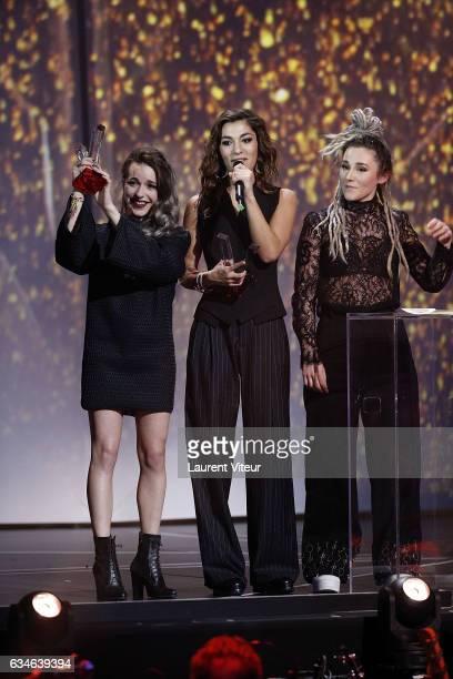 J receives Award for the 'Revelation Scene' during 'Les Victoires de la Musiques 2017' at Le Zenith on February 10 2017 in Paris France