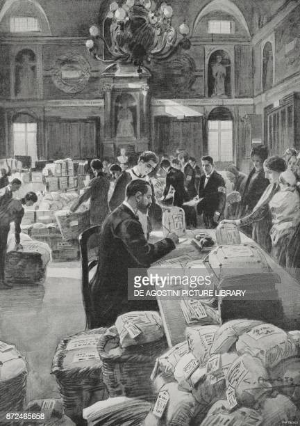 Receiving Christmas parcels for the soldiers at the front shopping salon at Palazzo San Giorgio Genoa Italy World War I drawing by Gennaro d'Amato...