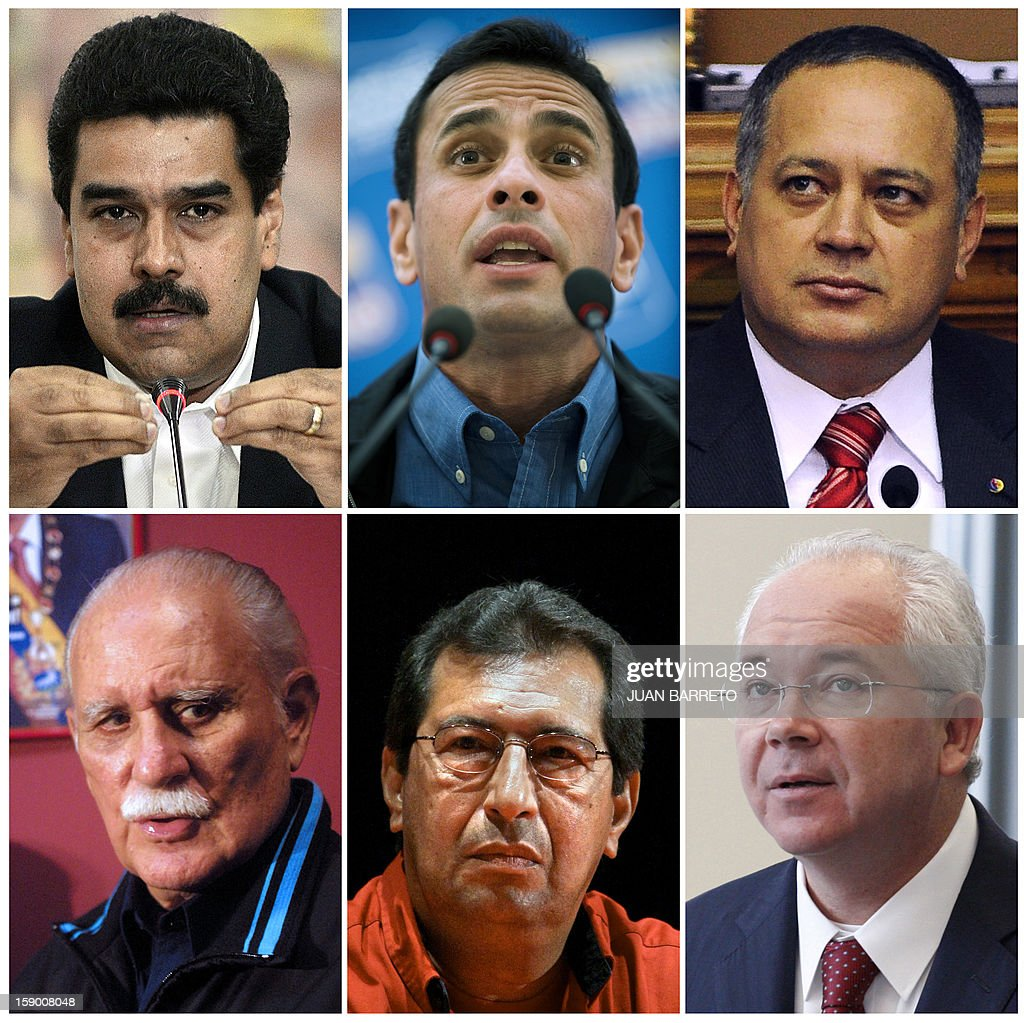 Recent pictures (L to R) of Vice President of Venezuela, Nicolas Maduro; the leader and former presidential candidate of the opposition to Hugo Chavez, Henrique Capriles; the president of the Venezuela's National Assembly, Diosdado Cabello ; successively former Venezuelan Foreign Minister, Defense Minister, and Vice President, Vicente Rangel; the Governor of Barinas state and elder brother of current President Hugo Chavez, Adan Chavez, and the Minister of Energy and Mines and CEO of the Venezuelan state-owned petroleum company PDVSA, Rafael Ramirez. Due to the health situation of President Hugo Chavez these Venezuelan politicians became some of the most influential people in this delicate political period in Venezuela. AFP PHOTO/Juan BARRETO