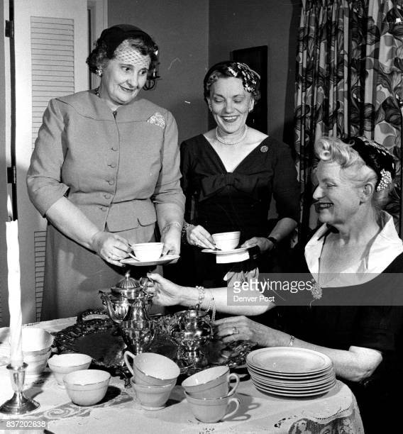 Recent tea party guests in the home of Mrs William Sweet Jr were left to right Mmes Kenneth Sawyer Braxton Ross and John Sullivan Credit Denver Post