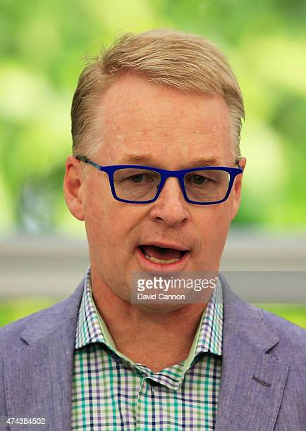 Recently appointed new Chief Executive of the European Tour Keith Pelley talks in the media centre during day 2 of the BMW PGA Championship at...
