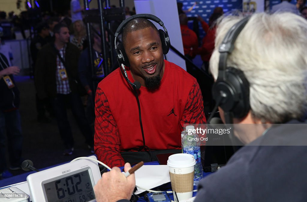 Recently retired NFL player <a gi-track='captionPersonalityLinkClicked' href=/galleries/search?phrase=Charles+Woodson&family=editorial&specificpeople=218111 ng-click='$event.stopPropagation()'>Charles Woodson</a> visits the SiriusXM set at Super Bowl 50 Radio Row at the Moscone Center on February 5, 2016 in San Francisco, California.
