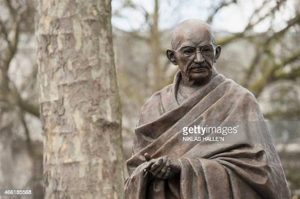 A recently unveiled statue of Mahatma Gandhi is seen in Parliament square in central London on March 14 2015 A statue of Indian independence leader...