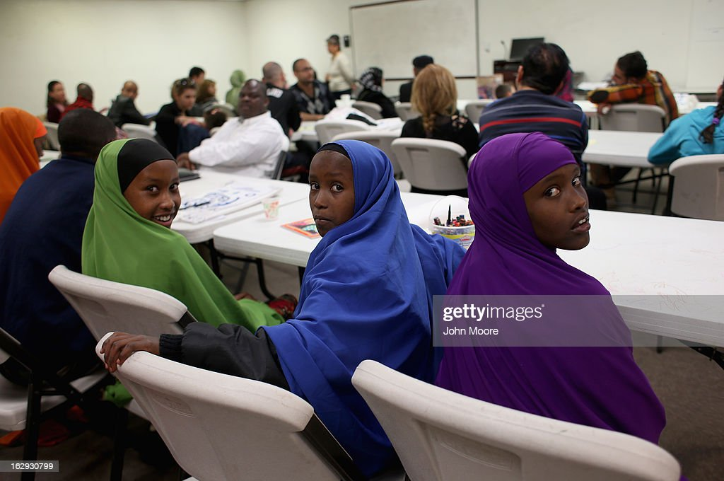 Recently-arrived refugees from Somalia learn about how to receive food stamps during a class held by the Arizona Department of Economic Security at the International Rescue Committee (IRC), office on March 1, 2013 in Phoenix, Arizona. IRC programs like many programs that receive federal funding, may be greatly cut back due to federal sequestration cuts. The IRC is a non-profit humanitarian aid organization that aids refugees and survivors of international conflict. They assist new arrivals, many of whom come from refugee camps and war zones, to adjust to American society after being granted refugee status and invited by the U.S. government to live in the United States. The IRC also assists refugees through the immigration and naturalization process to become U.S. citizens.