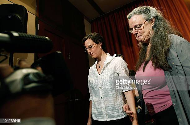 Recentlyreleased hiker Sarah Shourd is led off by her mother Nora Shourd after a press conference September 19 2010 in New York City Shourd gave a...