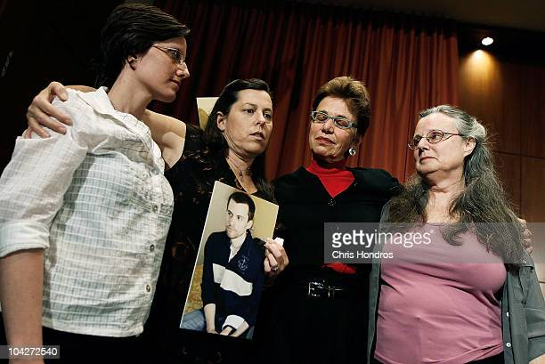 Recentlyreleased hiker Sarah Shourd stands with the mothers of two stillimprisoned hikers Cindy Hickey and Laura Fattal along with Sarah's mother...