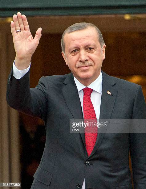 Recep Erdogan President of the Republic of Turkey arrives for the working dinner for the heads of delegations at the Nuclear Security Summit on the...
