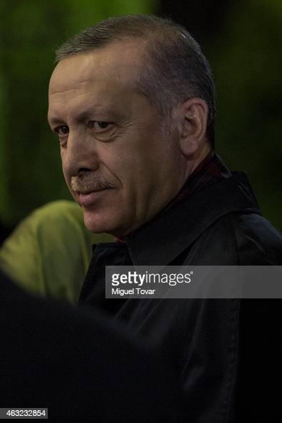 Recep Tayyip Erdogan president of Turkey arrives at the Presidential Hangar in Mexico's International Airport on February 11 2015 in Mexico City...