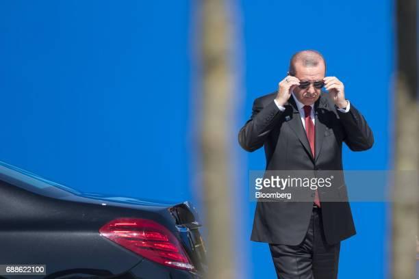 Recep Tayyip Erdogan Turkey's president arrives for a summit of world leaders at the North Atlantic Treaty Organization headquarters in Brussels...