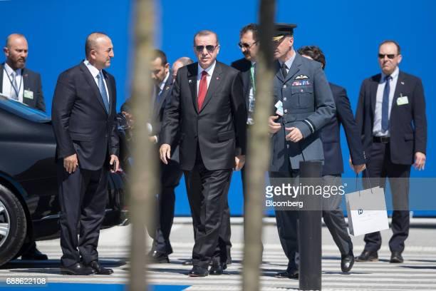 Recep Tayyip Erdogan Turkey's president center arrives for a summit of world leaders at the North Atlantic Treaty Organization headquarters in...