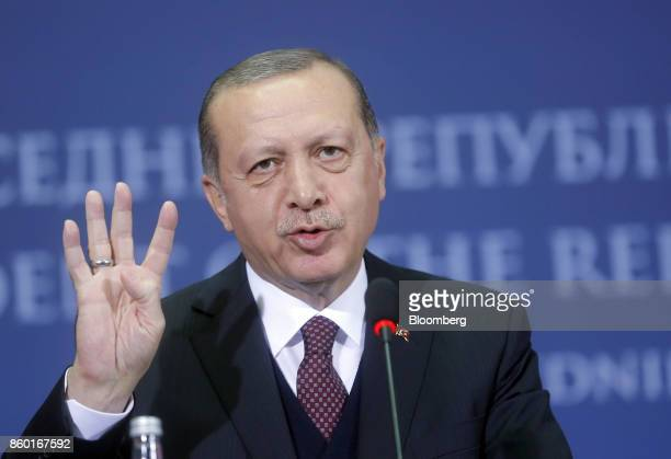 Recep Tayyip Erdogan Turkey's president gestures as he speaks during joint news conference with Serbian President Aleksandar Vucic in Belgrade Serbia...