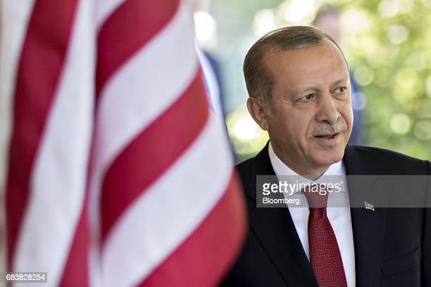 Recep Tayyip Erdogan Turkey's president stands after being greeted by US President Donald Trump not pictured at the West Wing of the White House in...